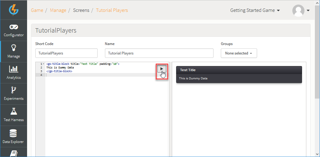 Working with Dynamic Forms - GameSparks Learn