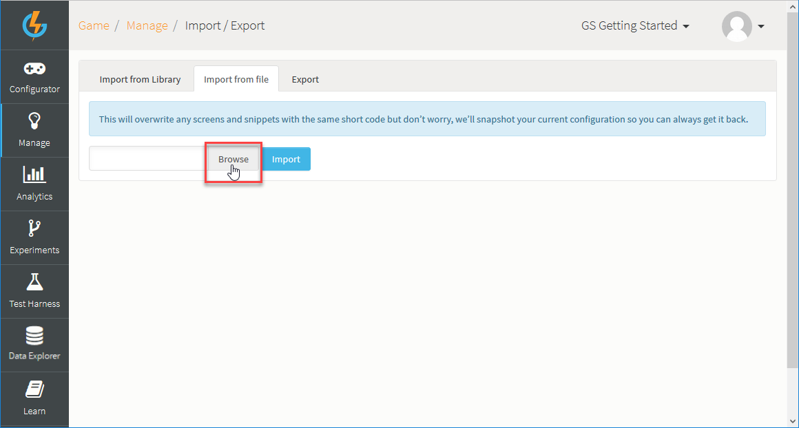 Importing and Exporting Admin Screens - GameSparks Learn