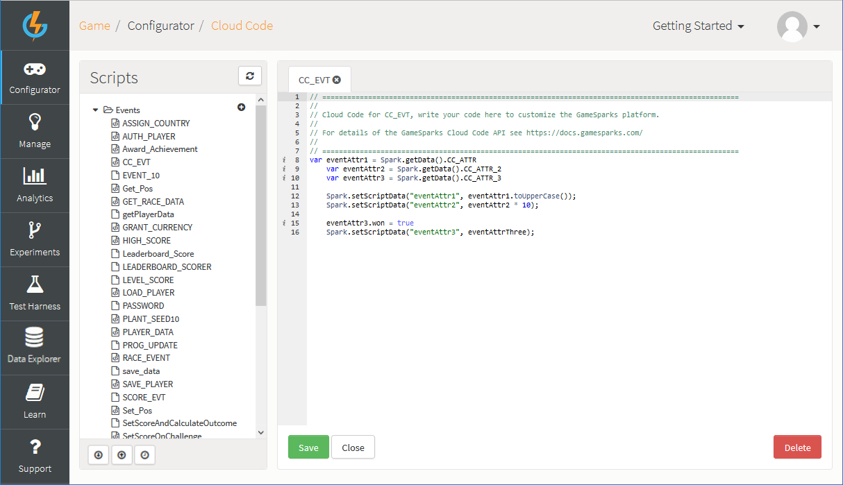 Using Cloud Code - GameSparks Learn