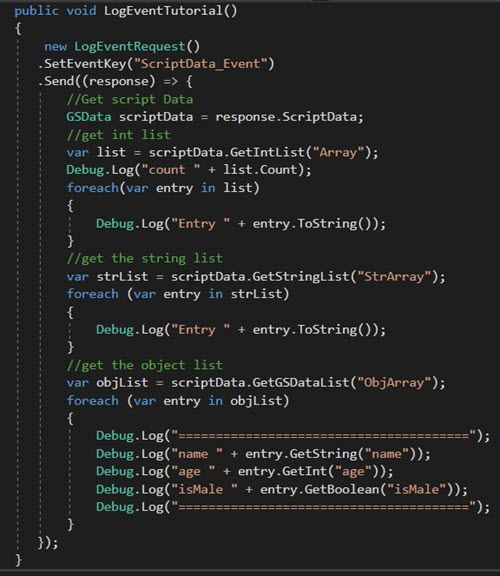 Accessing scriptData in Unity - GameSparks Learn
